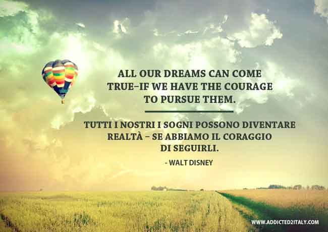 Inspirational quote by Walt Disney translated in Italian