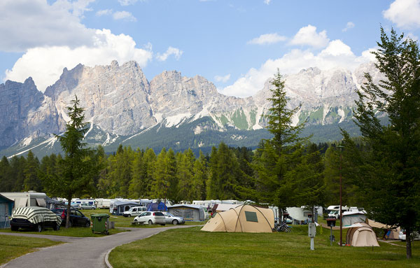 a campground in Italy in the Dolomites region