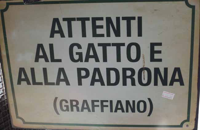 The Italian verb graffiare used in a sign.
