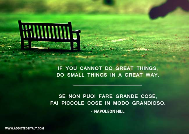 Famous quote by Napoleon Hill translated into Italian