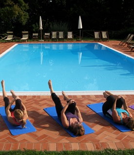 A group class of Pilates in Italy