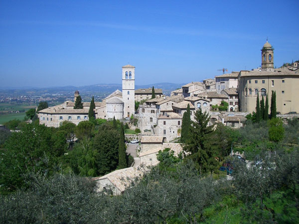 Assisi Italy overlooking the Umbrian countryside