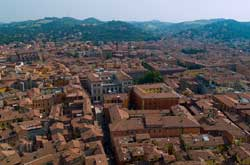 Image of Bologna Italy with its characteristic red roofs