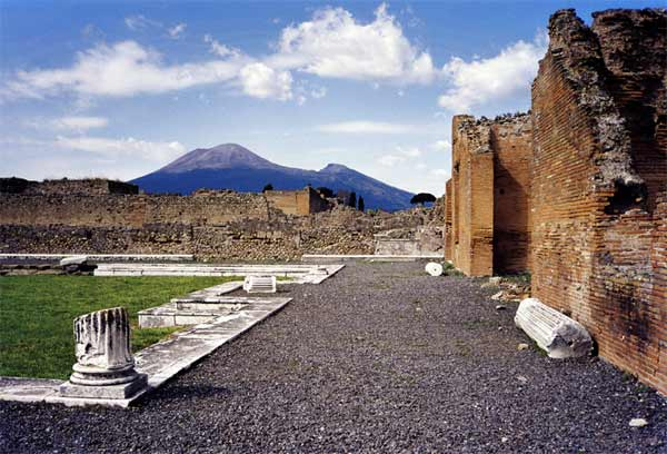 A view of Mt. Vesuvius from Pompeii outside of Naples, Italy
