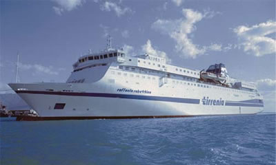 A new ferry in Tirrenia's fleet, one of Italy's major sea transport companies.